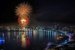 Fireworks new year celebration at Pattaya beach Royalty Free Stock Photos