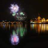 Fireworks New Year. Celebration at Prague, Czech republic Royalty Free Stock Photography