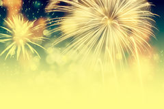 Fireworks at New Year and copy space Royalty Free Stock Images