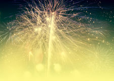 Fireworks at New Year and copy space Stock Image