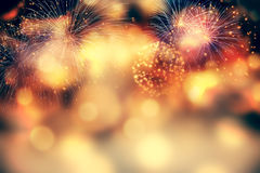 Fireworks at New Year and copy space Royalty Free Stock Photos