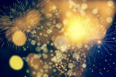 Fireworks at New Year and copy space Stock Images