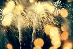 Fireworks at New Year and copy space Stock Photo