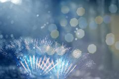 New Year concept. Fireworks at New Year and copy space - abstract holiday background Royalty Free Stock Photo