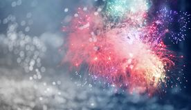 New Year concept. Fireworks at New Year and copy space - abstract holiday background Stock Image