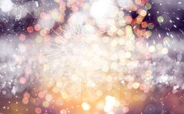 New Year concept. Fireworks at New Year and copy space - abstract holiday background Stock Images
