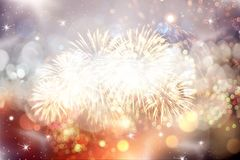 New Year concept. Fireworks at New Year and copy space - abstract holiday background Stock Photography