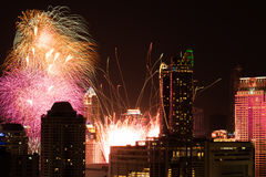 Fireworks at New Year countdown event in Bangkok Thailand Stock Image