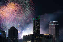 Fireworks at New Year countdown event in Bangkok Thailand Stock Photos