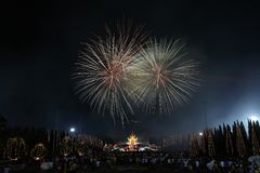 Fireworks in new year holiday anniversary. Fireworks in new year anniversary stock photography