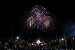 Fireworks in new year holiday anniversary. Fireworks in new year anniversary royalty free stock image