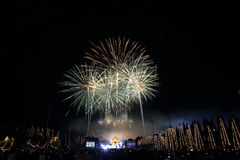 Fireworks in new year holiday anniversary Royalty Free Stock Images
