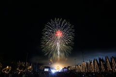 Fireworks in new year holiday anniversary Stock Image