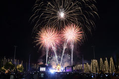 Fireworks in new year holiday anniversary Royalty Free Stock Photos