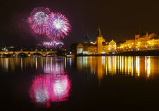 Fireworks New Year. 2014 Prague Czech republic Stock Photo