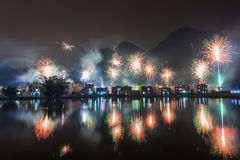 Fireworks. New Year's celebration in China Village Royalty Free Stock Photos