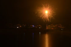 Fireworks on New Year's eve. In china's small vallige ,the beautiful fireworks happens In the middle of the night 12 o 'clock royalty free stock photo