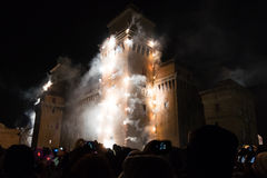 Fireworks for New Year's Eve in Ferrara Stock Image