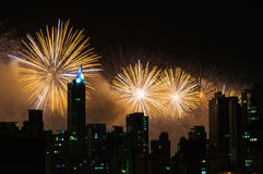 Fireworks. New Year's Eve fireworks over the city sky Royalty Free Stock Images