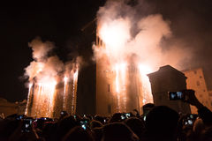 Fireworks for New Year& x27;s Eve in Ferrara Stock Images