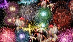 Fireworks during new years day celebration. Fireworks during new year`s party celebration Royalty Free Stock Photo