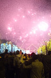 Fireworks on New Years Eve. In Bucharest, Romania, 1 January 2014 Stock Image