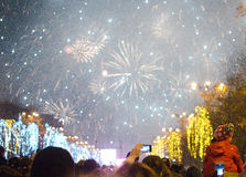 Fireworks on New Years Eve. In Bucharest, Romania, 1 January 2014 Royalty Free Stock Image