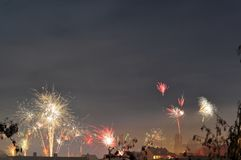Fireworks at new years eve. New years eve in Landshut, a bavarian city, with colorful fireworks stock photo
