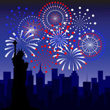 Fireworks in new york. Vector illustration Royalty Free Stock Photo
