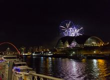 Fireworks at Newcastle Quayside on New Year`s Eve. Beautiful Fireworks at Newcastle Quayside on New Year`s Eve Royalty Free Stock Photo