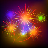 Fireworks on night background  illustration Stock Photo