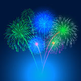 Fireworks on night background  illustration Royalty Free Stock Photo