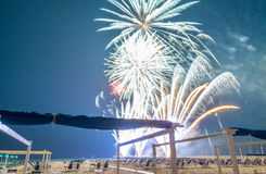 Fireworks at night on a beautiful beach Stock Photography