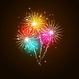 Fireworks at Night. Bright multicolor fireworks at night celebration background Royalty Free Stock Photography