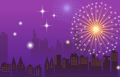 Fireworks and night city. Illustration drawing of beautiful purple fireworks background Royalty Free Stock Photography