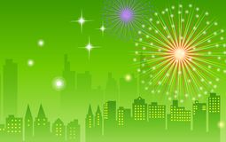 Fireworks and night city. Illustration drawing of beautiful green fireworks background Royalty Free Stock Photo