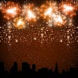 Fireworks. On the Night City Stock Photos