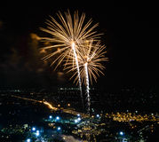Fireworks on night city background Royalty Free Stock Photos