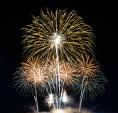 Fireworks on night city background Royalty Free Stock Images