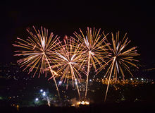 Fireworks on night city background Royalty Free Stock Photography