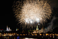 Fireworks at night in city center over the Kremlin Stock Photos