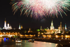 Fireworks at night in city over the Kremlin Stock Image