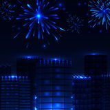 Fireworks in the night city, town houses, vector. Illustration Royalty Free Stock Photo