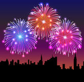 Fireworks on the Night City. Vector illustration Royalty Free Stock Photo