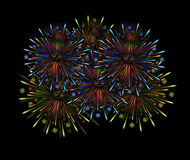 Fireworks night color Stock Photography