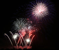 Fireworks at night. Colorful Fireworks in a dark night during a fireworks competition in germany Royalty Free Stock Photos