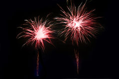 Fireworks at night in the in dark sky Royalty Free Stock Photo