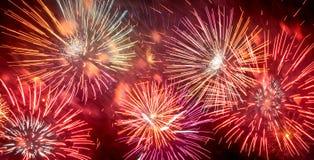 Fireworks in night dark sky Royalty Free Stock Photos