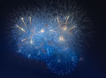 Fireworks in night dark sky Stock Photos