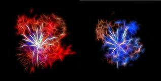 Fireworks. Night fireworks different colors on a black background. Can be used for mounting Royalty Free Stock Photos